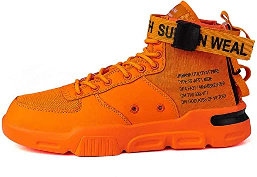 OPTPJUI Zapatos Casuales para Hombre Zapatillas clásicas Fluorescentes Zapatillas Altas para Hombre Deporte, Naranja, 9: Amazon.es: Deportes y aire libre