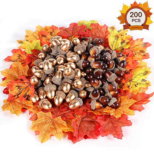 200 Pcs Artificial Acorns Pine Cones Maple Leaves for Crafting Wedding House Hanging Thanksgiving Decorations