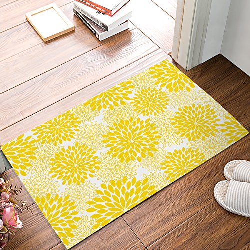 SUN-Shine Doormat Dahlia Floral Printed Entrance Floor Mat Rug Indoor/Outdoor/Front Door/Bathroom Mats Rubber Non Slip, Yellow (15.7