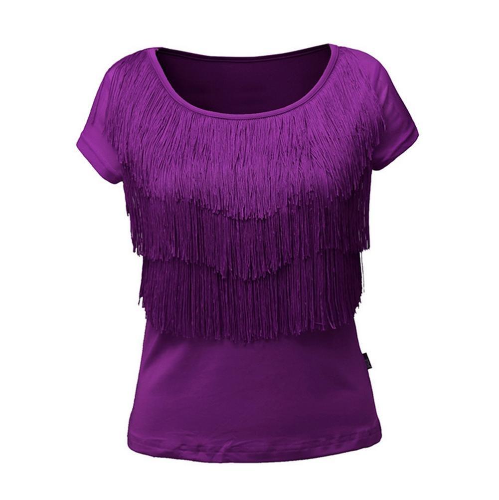 Wgwioo Robe De Danse Latine De Danse Carrée Frange avec Chemise à Manches Courtes XL