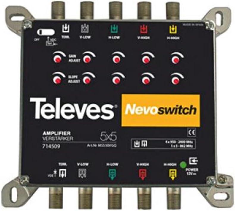 Televes 714509 - Amplificador nevoswitch 5x5 f g27/25db vs115 ...