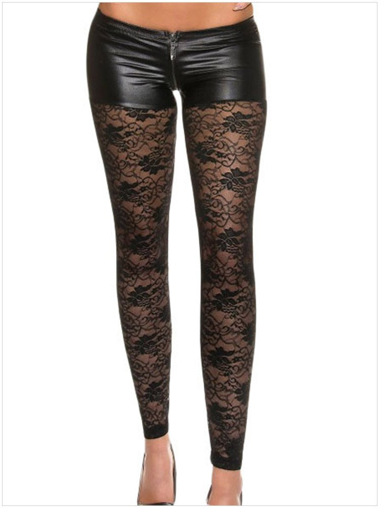 YLSZ-Printed Leggings white zipper style lace elastic Leggings,black,S YLSZ-Women's clothing