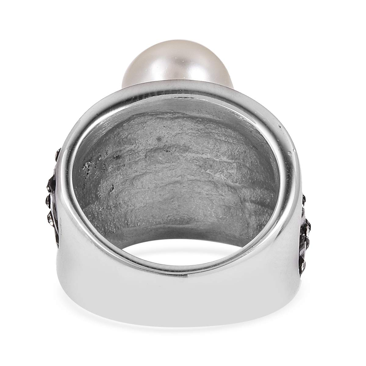 Austrian Crystal Black Oxidized Stainless Steel Ring Hema Treasures White Shell Pearl