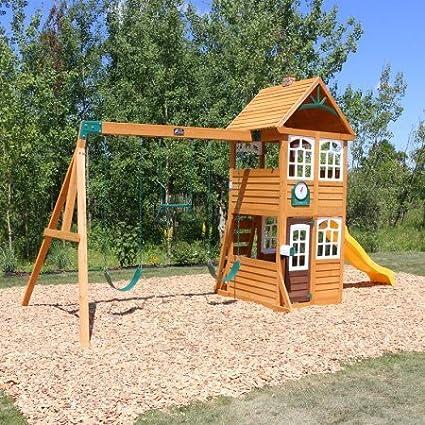 Amazon Com Willowbrook Cedar Wood Swing Set Playset Summit Kidkraft
