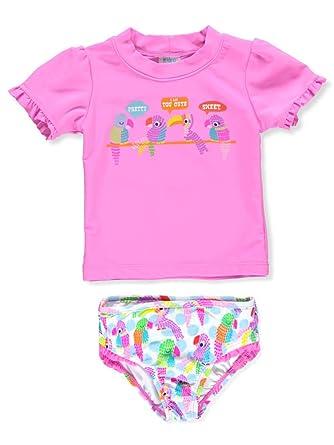6fb258b8e7997 Kiko & Max Little Girls' Suit Set with Long Sleeve Rashguard Swim Shirt,  Pink