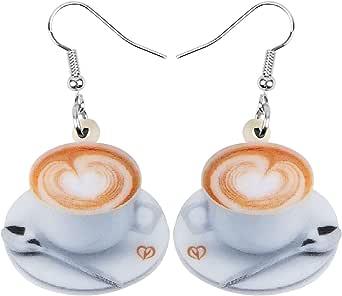 NEWEI Acrylic Coffee Cup Earrings Dangle Drop For Women Girl Ladies Sweet Drink Pattern Ornamets Jewelry Charm Gifts