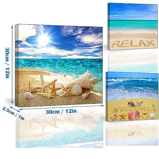 Piy Painting Cuadro en Lienzo del Playa, Conchas, Sol 3X Pinturas murales Decoración Impresiones de Lienzo Lindo Paisaje costero Arte de Marco Listo para ...