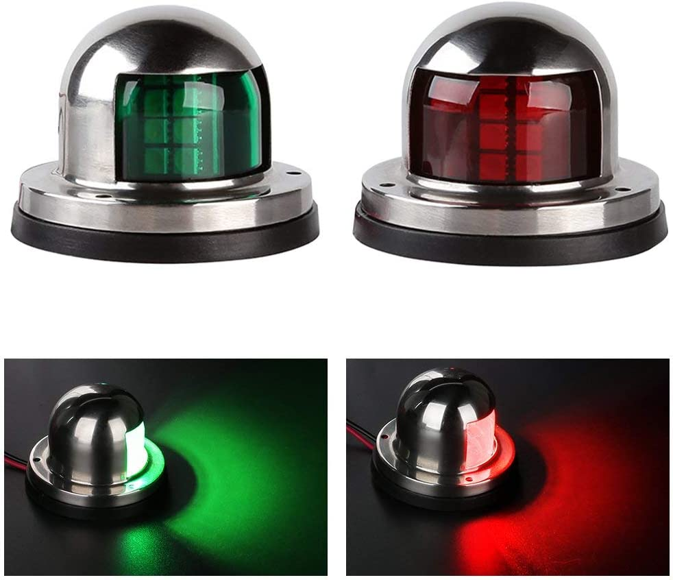 LEANINGTECH One Pair Marine Boat Yacht Light 12V Stainless Steel LED Bow Navigation Lights Pontoons Sailing Signal Lights : Sports & Outdoors