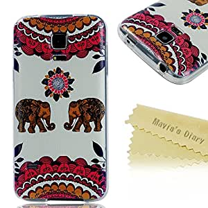 Samsung S5 Mini Case - Mavis's Diary Fashion Painted Series Transparent TPU Protective Skin Hard Case Cover for Samsung Galaxy S5 Mini SM-G800 SM-G800F with Soft Clean Cloth (National Style Case with Beige Floral Elephant)
