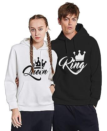 Sudadera Pareja King Queen Pullover con Capucha Hoodie Manga Larga Encapuchado Suéter Deportivo Blanco Negro para Parejas Amante Regalo Dulce: Amazon.es: ...