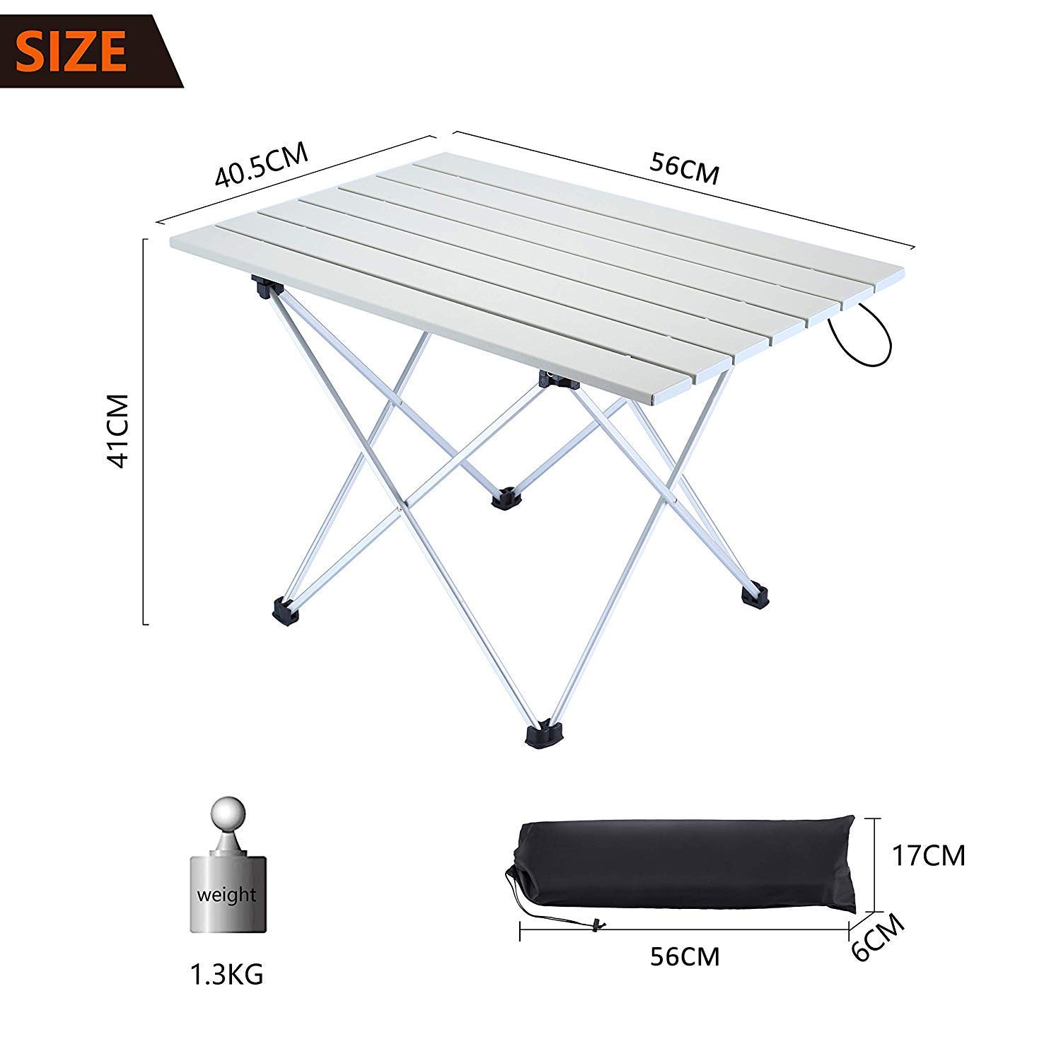 A plus life Camping Table Lightweight Aluminum Table with Carrying Bag for Outdoor and Home Easy to Clean. 56/×41/×40 cm Portable Outdoor Folding Table