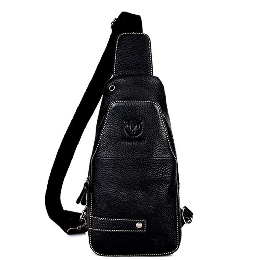 MUMUWU Men's Messenger Bag Leather Shoulder Bag Casual Sports Fashion Chest Men's Bag Men's Shoulder Bags (Color : Black, Size : M)