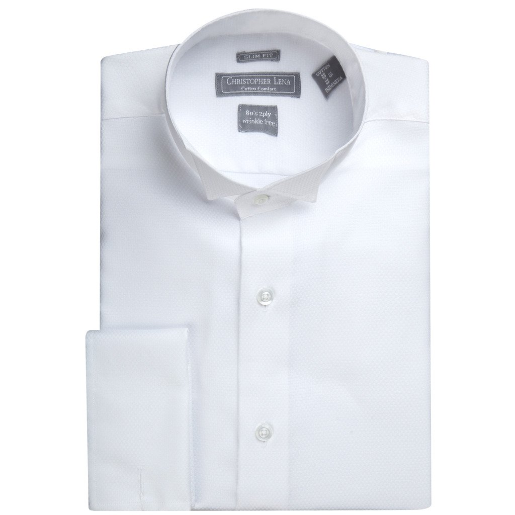 Christopher Lena Men's C514KSOF Slim Fit Wing Tip French Cuff Tuxedo Shirt, White, 16.5'' Neck 34/35'' Sleeve by Christopher Lena