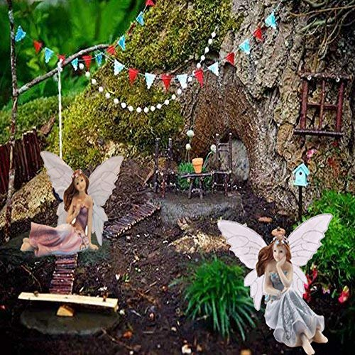 Superieur JUNIQUTE Fairy Garden Fairy Figurines   Garden Fairies   Sitting Girls Set  Of 2 Pcs