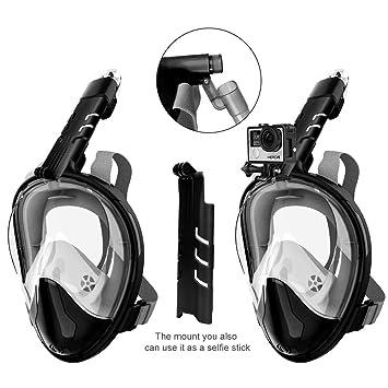 Snorkel Rock Máscara de esnórquel antifugas, 180 Grados, Diseño panorámico de Cara Completa con