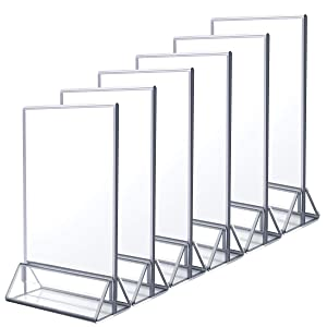 NIUBEE 6Pack 5x7 Clear Acrylic Sign Holder with Sliver Borders and Vertical Stand, Double Sided Table Menu Holders Picture Frames for Wedding Table Numbers, Restaurant Signs, Photos and Art Display
