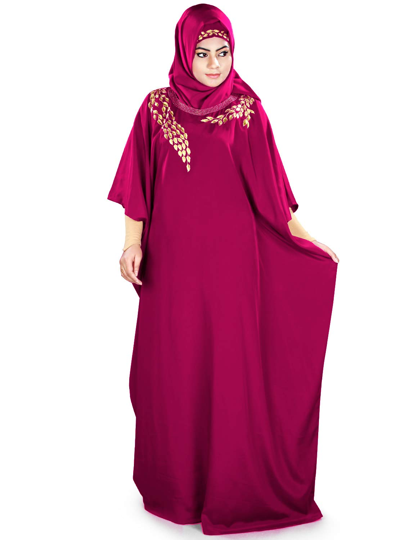 MyBatua Womens Kaftan Gold Embroidered Fancy Abaya Evening Gown Free Size Maxi Dress KF-023, Magenta