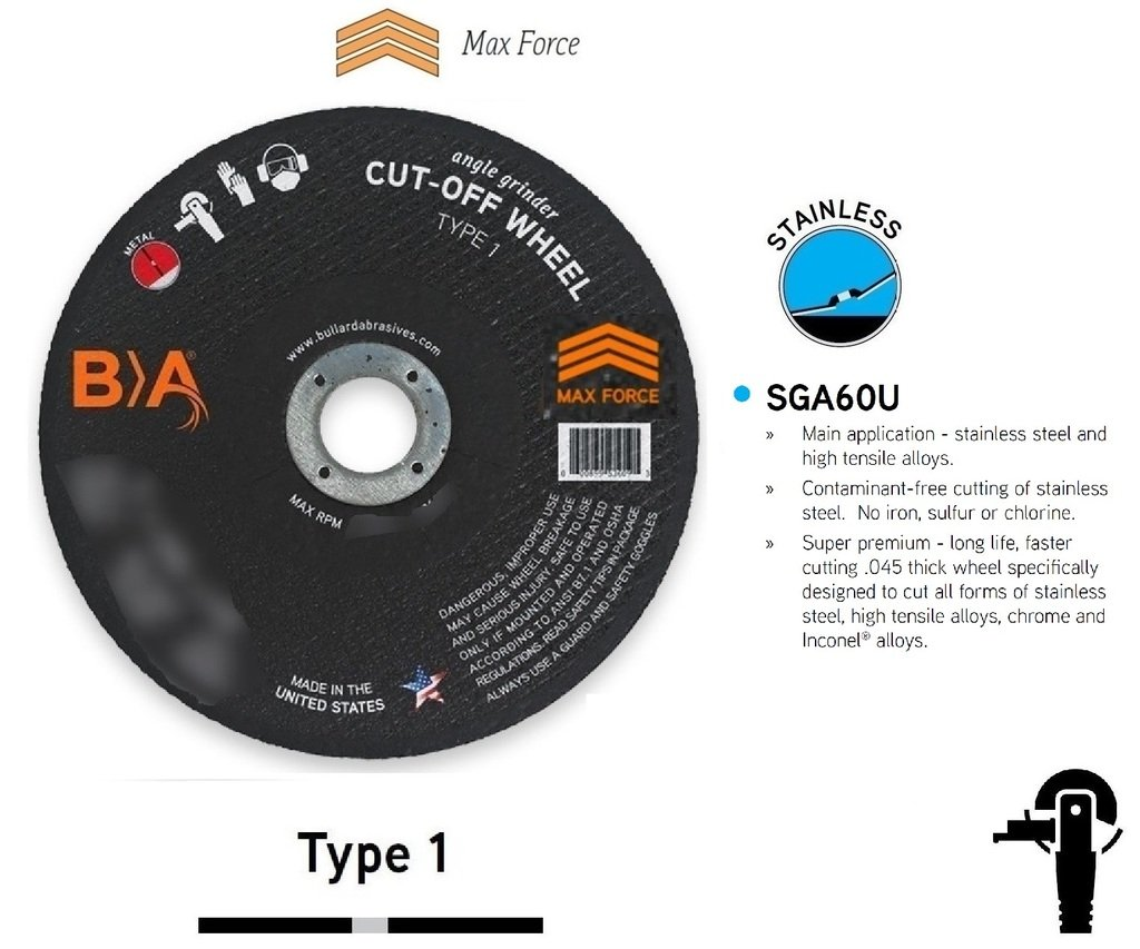 (25) Bullard 43607 (6 x 0.045) SGA60U Type 1 Cut-Off Wheels for Angle Grinders. Industrial Grade. 7/8'' Arbor. 10200 Rpm. For stainless steel and high tensile alloys.