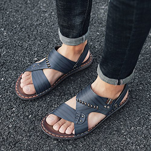 Men's Leather Open Toe Sandals Summer Beach Sandals Slippers Slip-On Breathable Sport Sandals Black ZOcJgoQ3