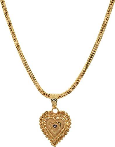 Amazon jewar pendant set hart pan shape 1 gram gold plated jewar pendant set hart pan shape 1 gram gold plated finish jewelry for women girls aloadofball Images