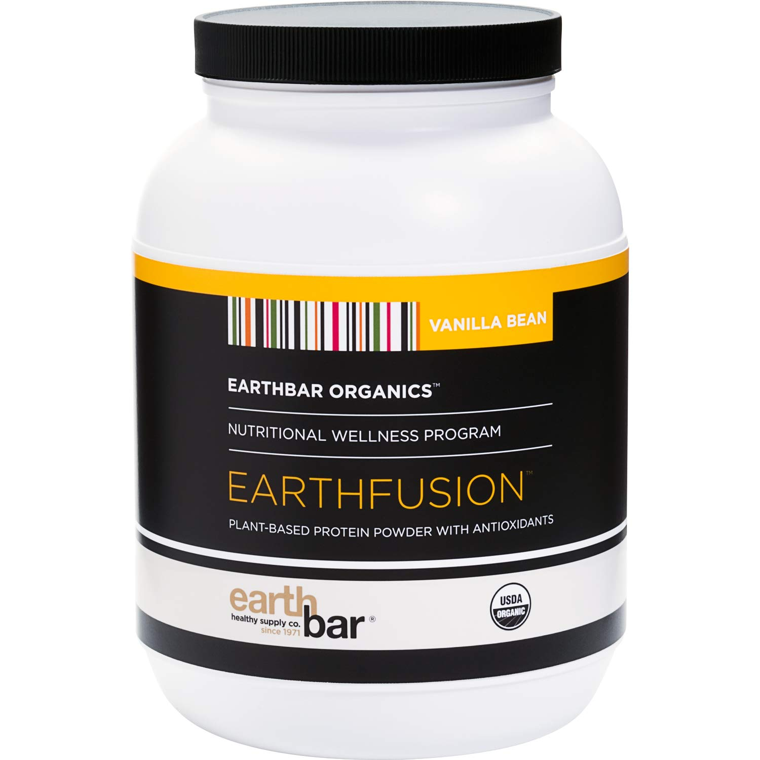 Earthbar Earthfusion Vegan Plant-Based Protein Powder with Antioxidants (2lb, Vanilla Bean)