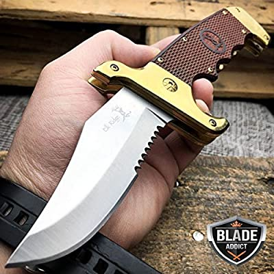 New Collectors Real Wood Bowie Spring Assisted Open Folding Pocket EcoGift Nice Knife with Sharp Blade EDC Hunting- Great For Fun And Practical Use