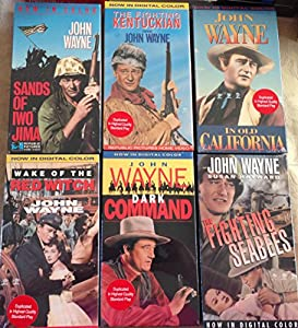 John Wayne Bundle of 6- Sand of IOW Jima,the Fighting Kentuckyian, in Old California, Wake of the Red Witch, Dark Command, the Fighting Seabees from REPUBLIC PICTURES