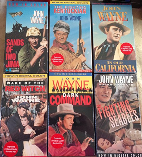 John Wayne Bundle of 6- Sand of IOW Jima,the Fighting Kentuckyian, in Old California, Wake of the Red Witch, Dark Command, the Fighting Seabees (John Wayne Wake Of The Red Witch)