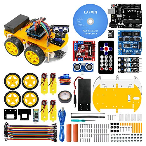 LAFVIN Smart Robot Car Kit for UNO Include Ultrasonic Sensor, Bluetooth Module for Arduino R3 with Tutorial (Best Arduino Robot Kit)