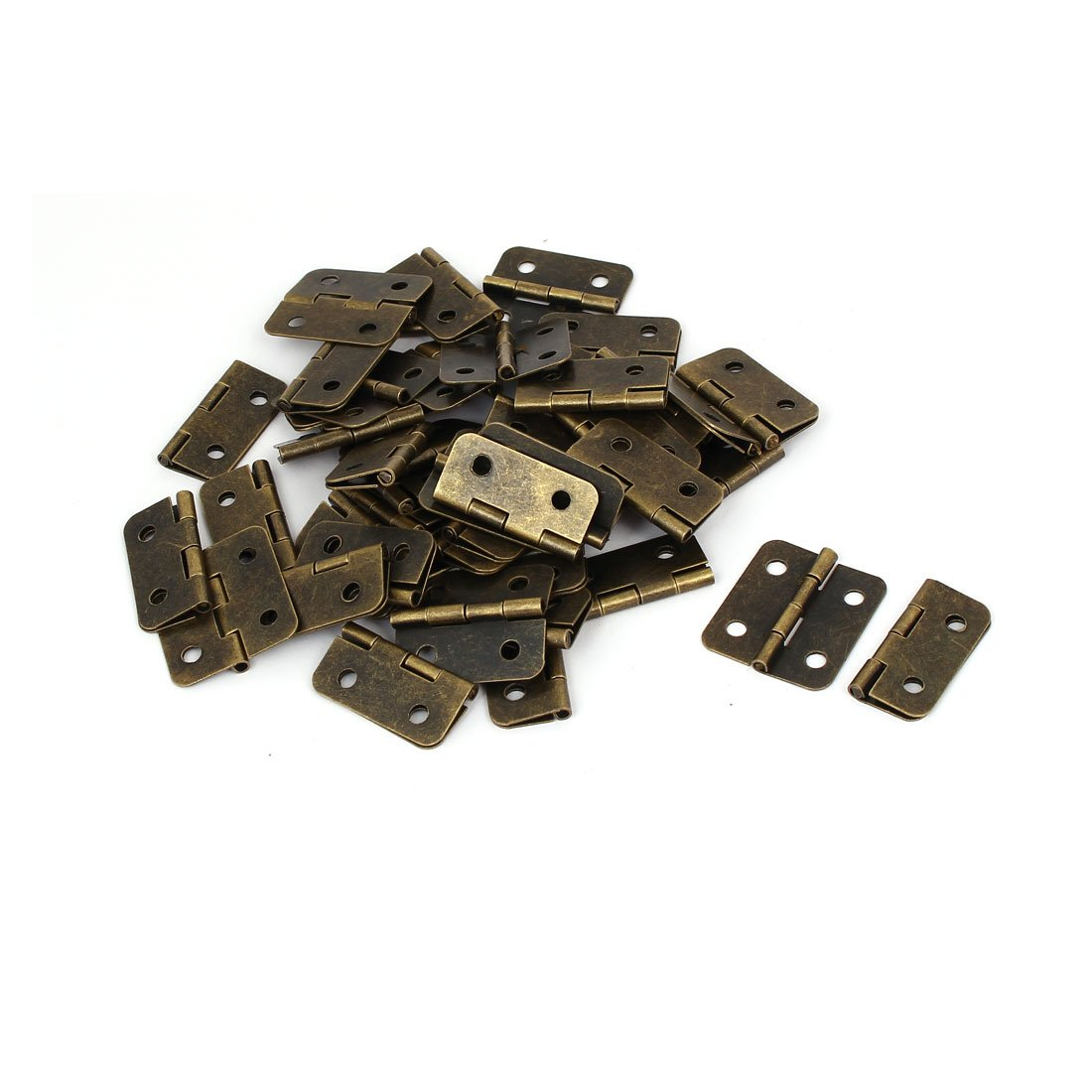 uxcell Furniture Drawer Door 1.2 Inch Length Metal Foldable Hinges Bronze Tone 50PCS by uxcell