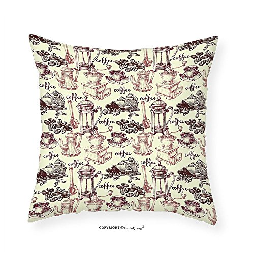 VROSELV Custom Cotton Linen Pillowcase Kitchen Coffee Beans with Oldpresso Machine in Sketch Hand Drawn Image for Bedroom Living Room Dorm Egg Shell Dried Rose Brown 12