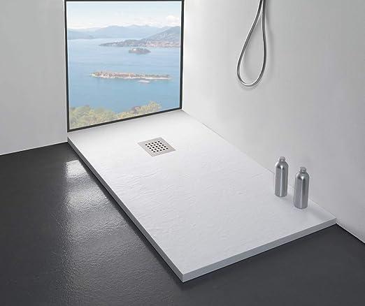 Plato de ducha fabricado en Italia, 100 x 80 cm, blanco de mármol con efecto piedra pizarra, revestimiento de Gelcoat, slim 3 cm.: Amazon.es: Bricolaje y herramientas