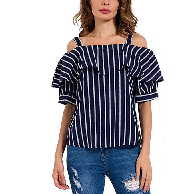 Elegante Azul Oscuro Rayas Camisa de la Blusa Casual Off Correa para el Hombro Top Volantes