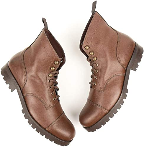 Vegan Shoes Womens Work Boots Chestnut
