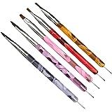 NEJLSD 5Pcs UV Gel Acrylic Nail Brush Dotting Painting Pen Dual-Ended 2 IN 1 Design Nail Art Tips Builder Brush Pen for Profe