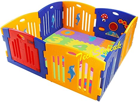 0-9 0-9 Playpen with Number Mats A-Z 0-9 Only Number Mats Plastic Baby Playpen with Activity Panel and Play Mats