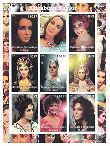 [Stamps for collectors - Elizabeth Taylor perforated stamp sheet featuring the actress in various film roles / Costumes / Democratic Republic of the] (Postage Stamp Costume)