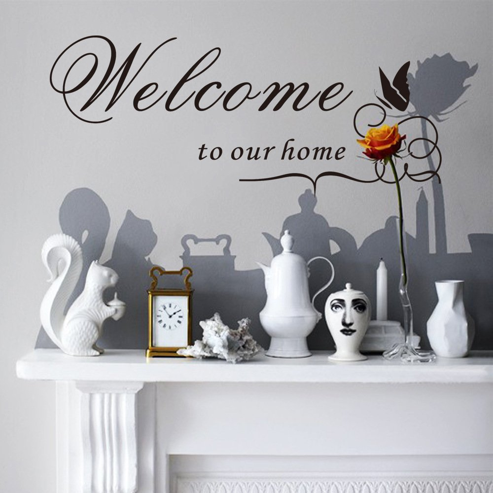 Summerjokes Welcome to Our Home Funny Home Vinyl Wall Decals Stickers, DIY Decals Home Window Door Wall Decor