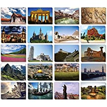 Set of 40 Assorted World Postcards Collection Variety Pack World Theme Self Mailer Mailing Side Postcards 20 Different Designs, 2 of Each, 40 Pack Postage Saver - 4 x 6 Inches