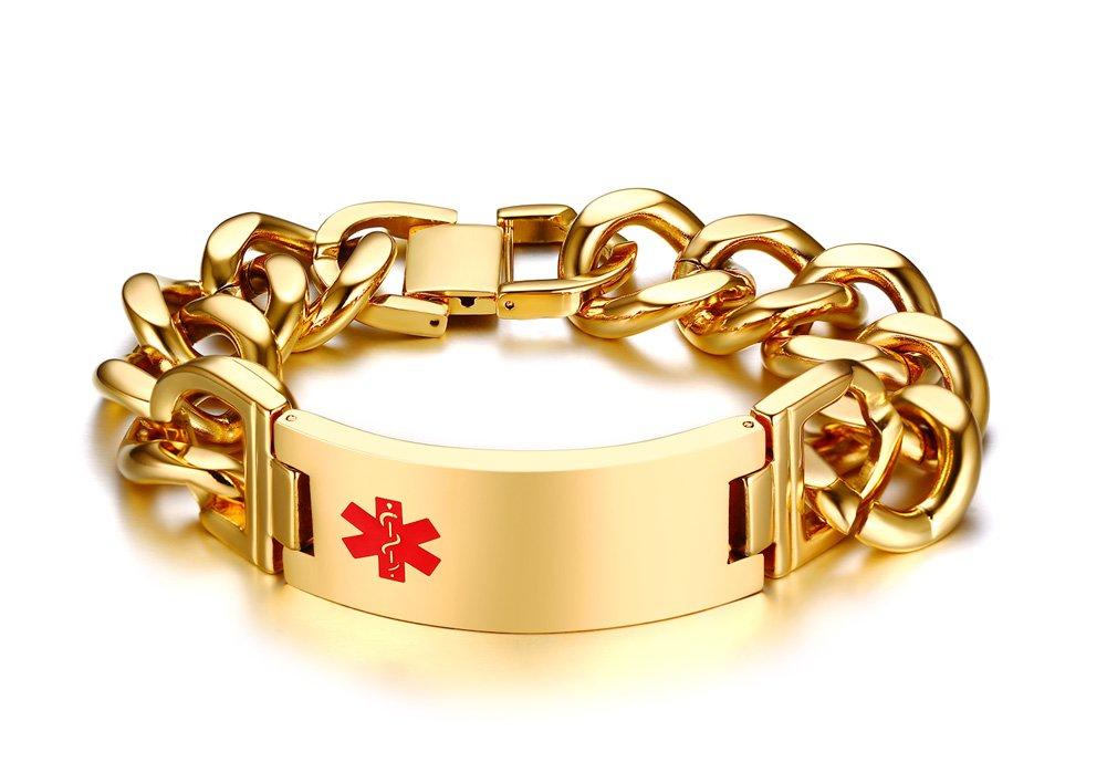PJ Jewelry Free Engraving Stainless Steel Emergency Medical Alert ID Cuban Chain Link Bracelet for Men,8.5''