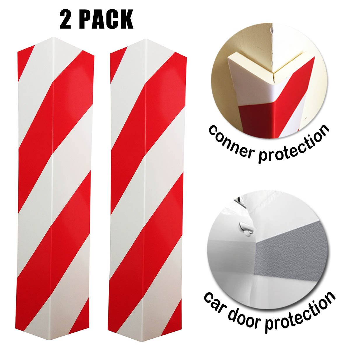 Car Door Bumper Guard Garage Wall Corner Anti Scratch 90 degree Right Angle Parking Protector - 2 Pack miss u design