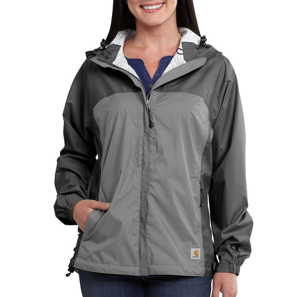 Carhartt Women's Mountrail Weatherproof Breathable Zip Front Hooded Jacket, Charcoal/Asphalt, Medium
