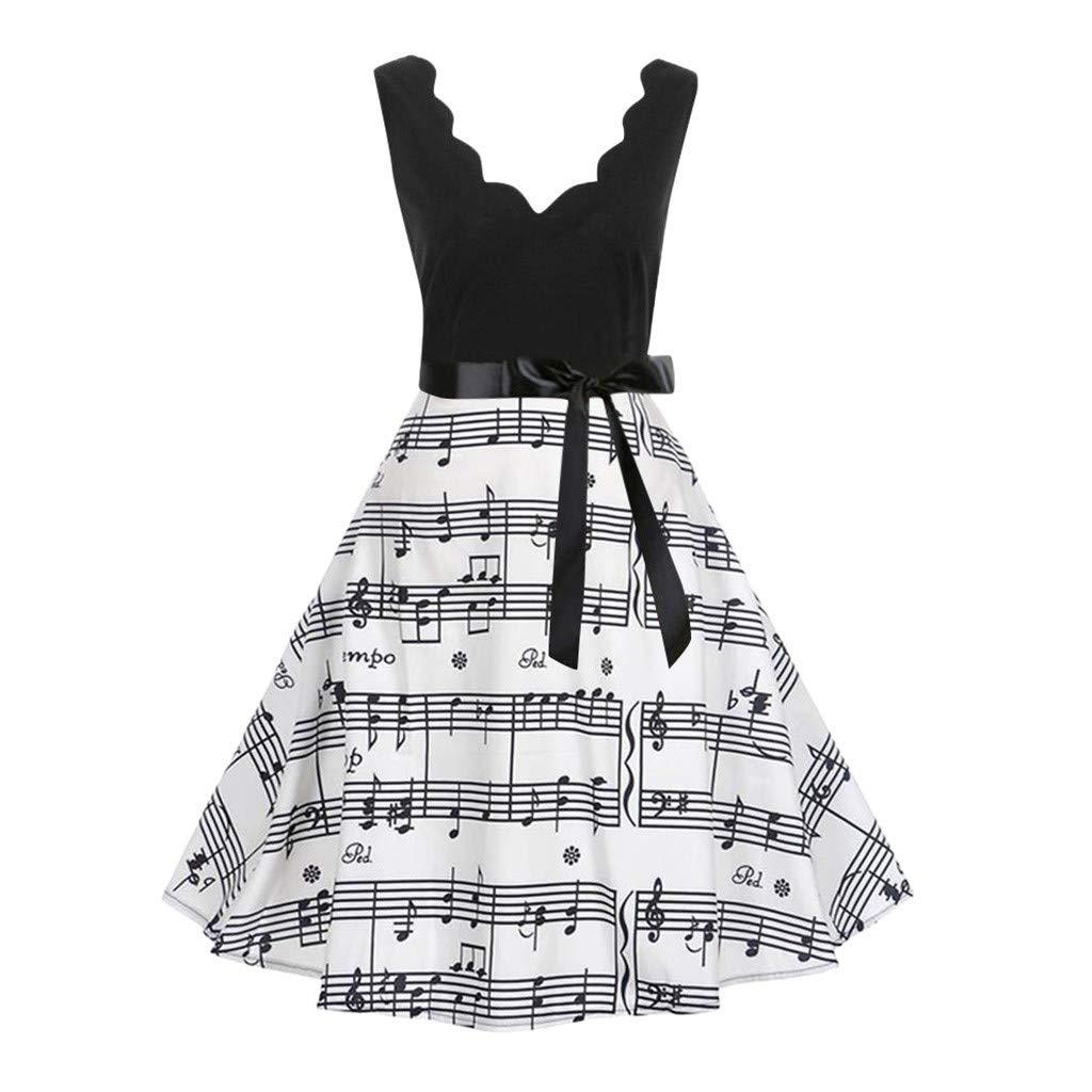Vintage Dress, AgrinTol Women Printing Bodycon Sleeveless Casual Evening Party Dress (XXL, Black 3)
