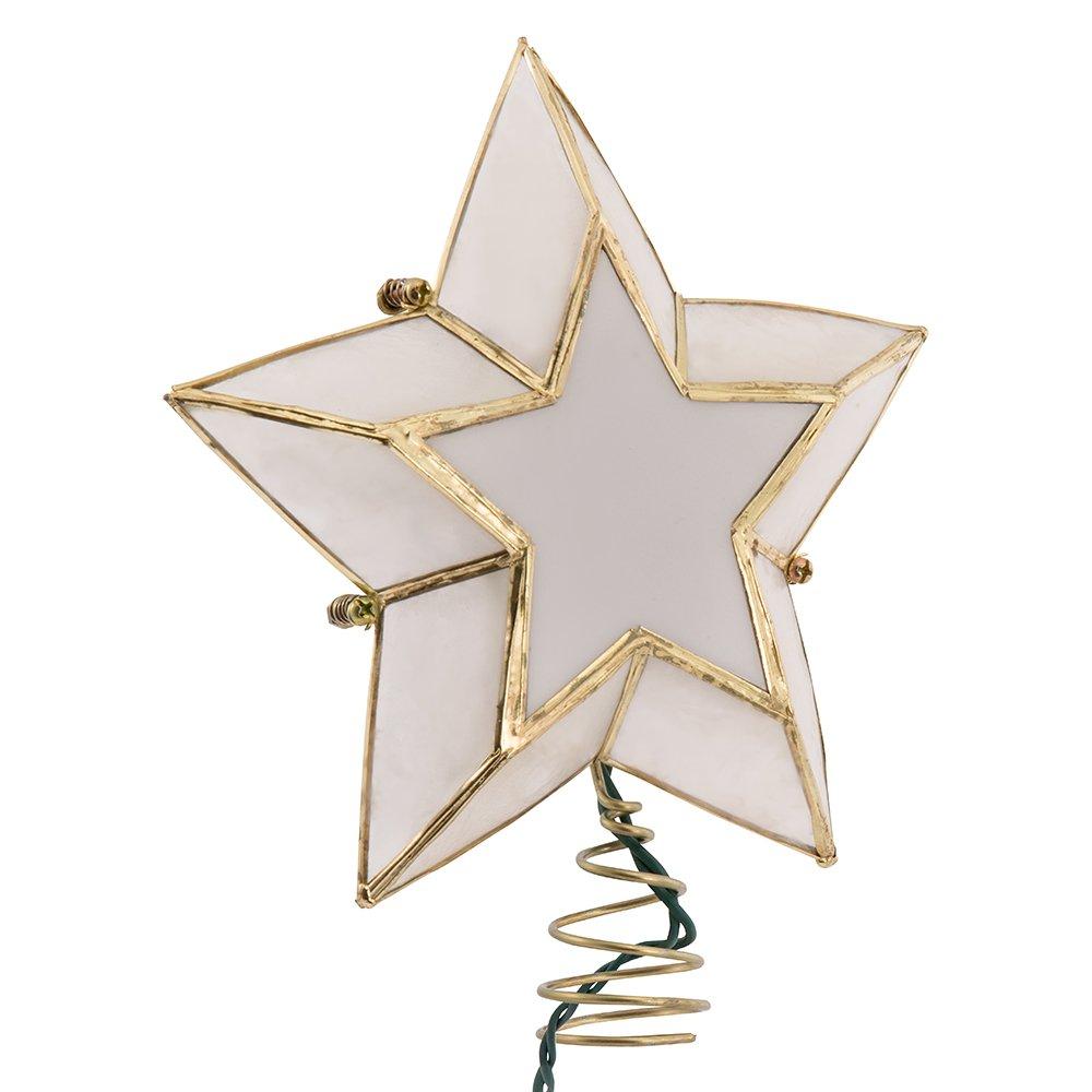 Kurt Adler 10-Light 5-Point Capiz Star Christmas Treetop, Ivory and Gold Kurt S. Adler Inc. UL3057