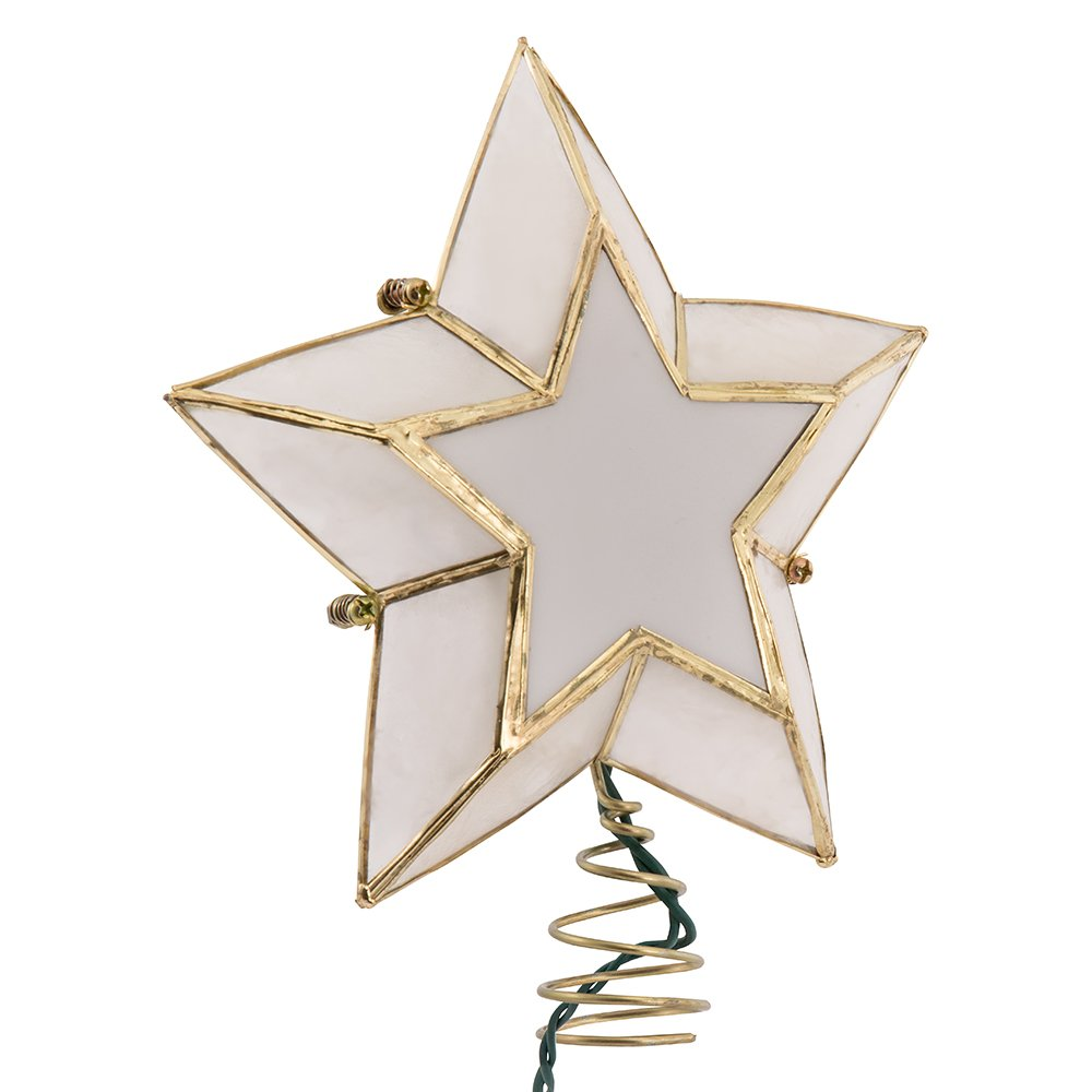 Kurt Adler 10-Light 5-Point Capiz Star Christmas Treetop, Ivory and Gold
