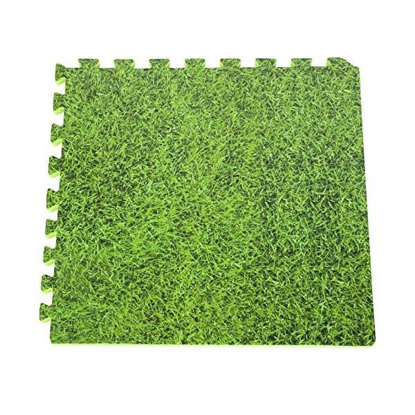 Gre MPF509GR - Protettore di suolo per piscina, 9 pezzi, Imitazione Erba (stampa), 50 x 50 cm, spessore 8 mm 1 spesavip