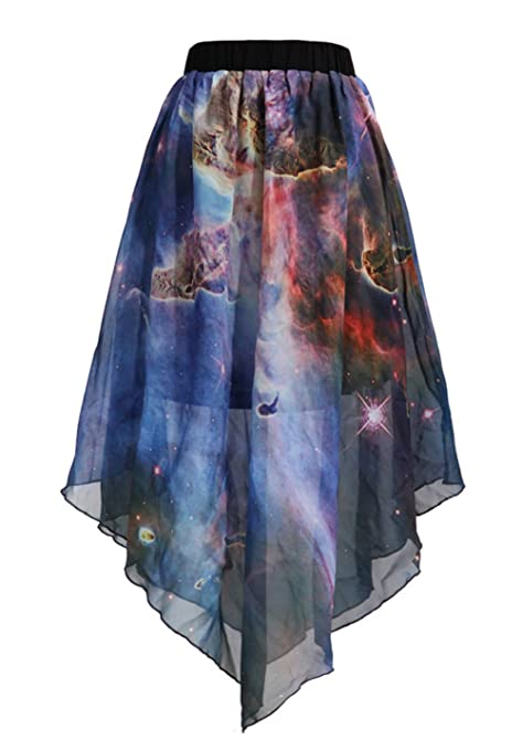 ezShe Womens Digital Print Galaxy Pleated Chiffon Midi Skirt, XFQ001:  Amazon.co.uk: Clothing