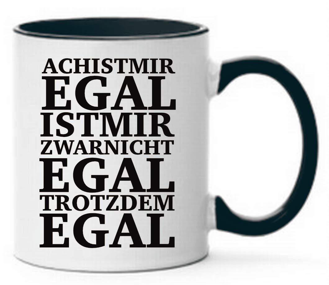 Farbwuselei Ach ist mir egal ist mir zwar nicht egal trotzdem egal B/ürotasse Tassen mit Spr/üchen lustig Schwarz Tasse mit Spruch witzig