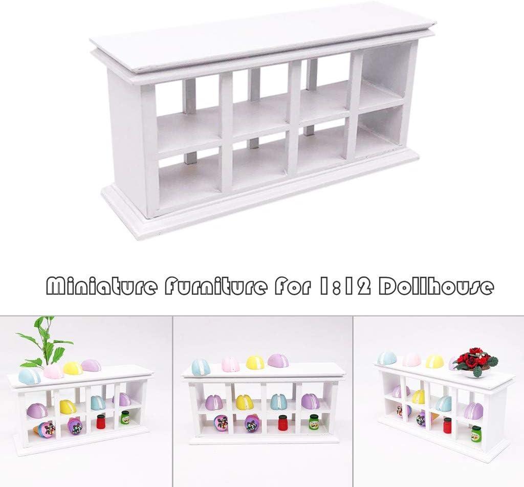 1//12 Dollhouse Miniature Kitchen Furniture White Wooden Wall Shelf Rail Rack