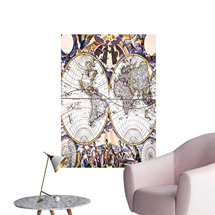 Wall Painting Antique World Map with Farmers Field Sun Birds ...